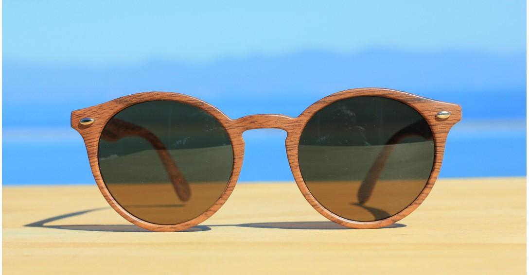 Womens Sunglasses, Round Wood