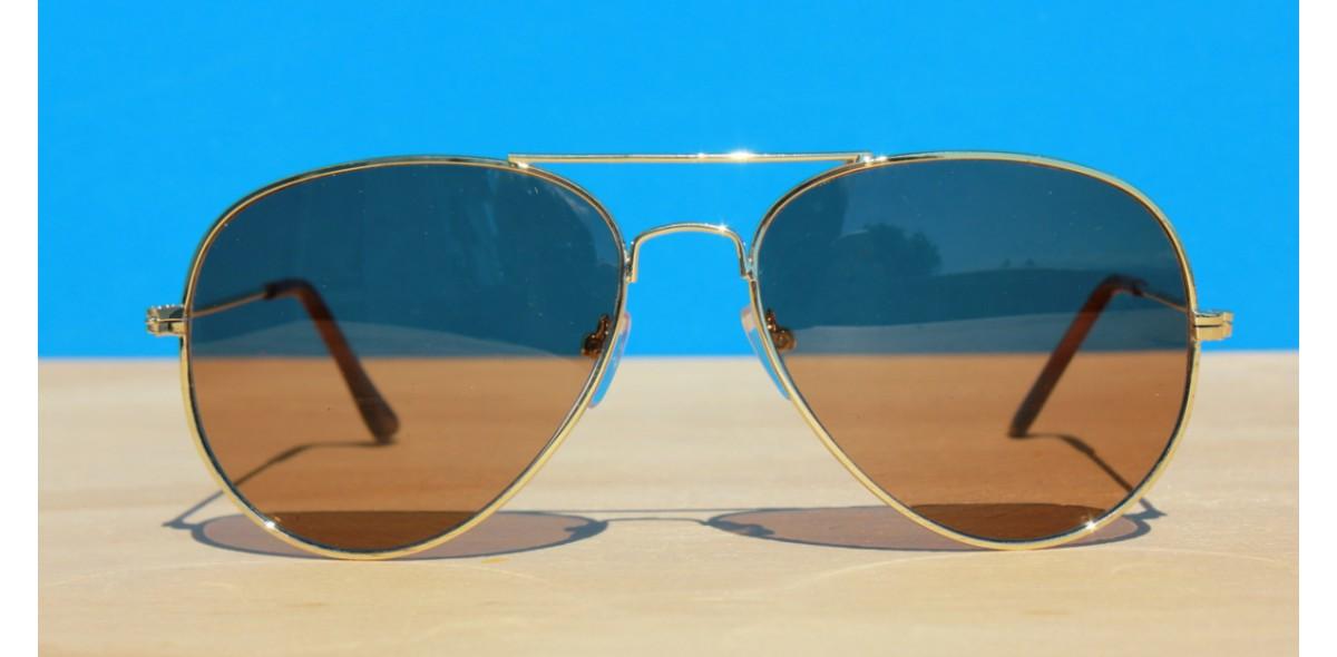 Womens Sunglasses, Gold Brown Aviator